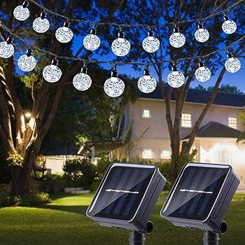 Outdoor 30 ft Crystal Ball Solar Power LED String Lights