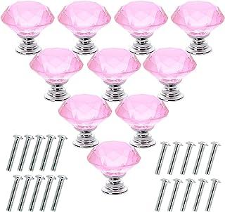 Akstore 10 Pcs Crystal Glass Cabinet Knobs 30mm Diamond Shape Drawer Kitchen Cabinets Dresser Cupboard Wardrobe Pulls Hand...
