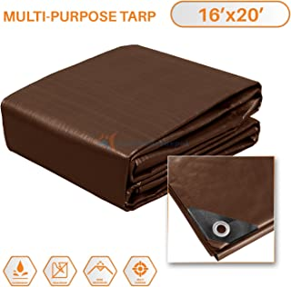 TANG Sunshades Depot 16x20 Feet Super Heavy Duty 16 Mil Waterproof Brown Tarp Multi Purpose Waterproof Poly Tarp Cover Reinforced Rip-Stop with Grommets