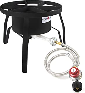 GasOne B-5300 One High-Pressure Outdoor Propane Burner Gas Cooker Welded Frame No Assembly required 0-20 PSI (Renewed)