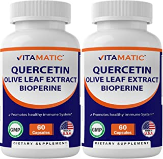 2 Pack - Vitamatic Quercetin, Olive Leaf Extract, with Bioperine for Greater Absorption, 910mg, 60 Capsules (Total 120 Cap...