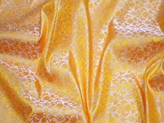 Yellow Banarasi Indian Brocade Jacquard Fabric Wedding Dress Fabric Varanasi Fabric Crafting Sewing Brocade