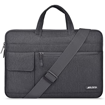MOSISO Laptop Shoulder Bag Compatible with 2019 MacBook Pro 16 inch A2141, 15 15.4 15.6 inch Dell Lenovo HP Asus Acer Samsung Sony Chromebook, Polyester Flapover Briefcase Sleeve Case, Space Gray