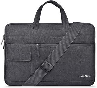 MOSISO Laptop Shoulder Bag Polyester Flapover Briefcase Sleeve Gray Space Gray 15-15.6 Inch