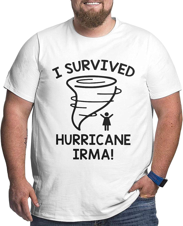 I Survived Hurricane Irma Man's Simple Big Size Summer Outdoor Short Sleeve Round Collar Tshirt