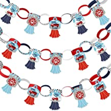 Big Dot of Happiness Fired Up Fire Truck - 90 Chain Links and 30 Paper Tassels Decoration Kit - Firefighter Firetruck Baby Shower or Birthday Party Paper Chains Garland - 21 feet