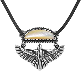 Sterling Silver Black Agate or Gold Mother of Pearl Eagle Wings Pendant Brown Leather Cord Necklace 20 or 22 Inch