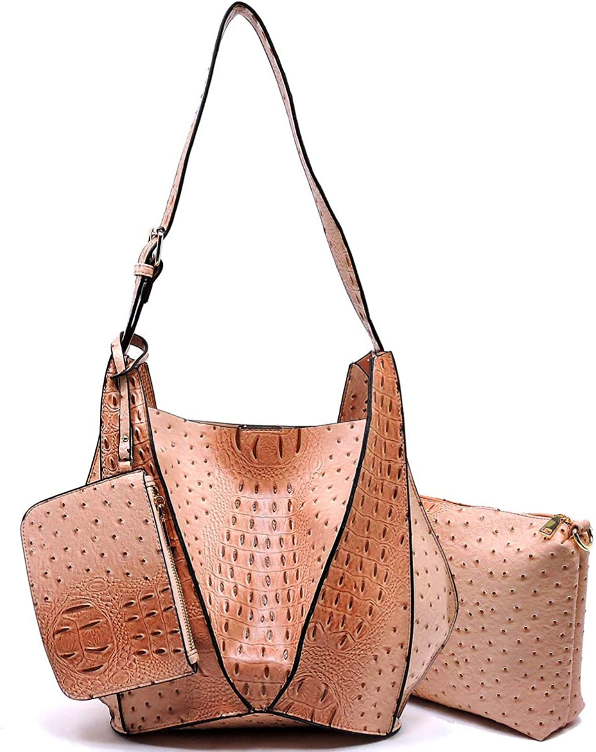 3pc Le Miel Ostrich Embossed Long Strap Hobo w Pullout Crossbody + Coin Pouch