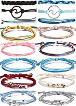 BOMAIL 14-16 Pieces Wave Bracelet Braided Rope Bracelet SetHandmade Adjustable Friendship Bohemian Bracelet Handcrafted Jewelry for Women Girl