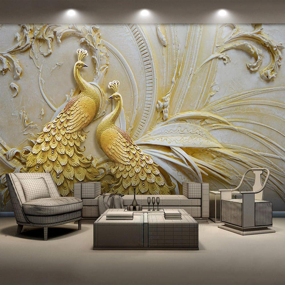 Mural Wallpaper Sale Special Price for Walls 3D Stereoscopic Embossed Peacoc Golden List price