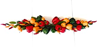 Mezly Outdoor Water Resistant Garland of Red Chili Fake Peppers Artificial Vegetables Food Faux Lifelike Plants Home Party Kitchen Decoration Hotel Store Display Model Photography (Swags Chili)