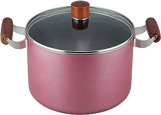 和平フレイズ 両手鍋 シチューポット 煮込み料理 フューシャ 22cm ガラス蓋付 ふっ素樹脂加工 IH対応 FR-7504