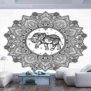 116x83 inches Wall Mural,Paisley Mandala Motif with Elephant Inside Ideal Ethnic Strength Honor Symbol Decorative Peel and Stick Self-Adhesive Wallpaper Removable Large Wall Sticker Wall Decor for Hom