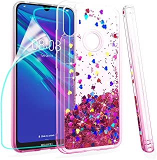 ZingCon Compatible for Huawei Y6 2019 Phone Case, Honor 8A/Play 8A Case,Glitter Bling Quicksand Adorable Shine Phone Over,Shockproof Hybrid Hard PC Soft TPU Protective