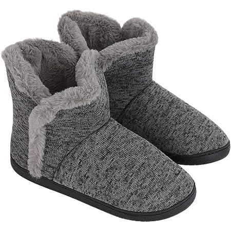 Men's Knitted Wool Boots Slippers Super Warm Plush Velvet Indoor Slipper Boots House Slipper Bootie Non-Slip Sole, Grey, UK