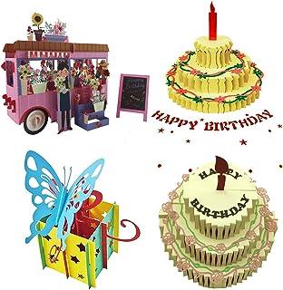 3D Pop Up Birthday/Greeting Cards,Birthday Pop Up Greeting Cards Laser Cut Happy Birthday PopOut Cards Including Envelope...