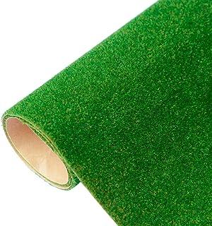 Yamix Model Grass Mat Artificial Train Grass Mat Fake Turf Lawn Paper for DIY Train Railroad Scenery Landscape Decoration, 41 x 100cm / 16.1 x 39.4 inch (Dark Green)