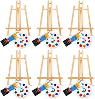 72 PCS Professional Painting Supplies kit with 6 pcs Wood Easels, 6 Packs of 60 Brushes with Nylon Brush Head and 6 pcs Pa...