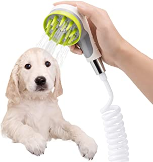 Pet Bathing Sprayer Scrubber Mothermed Dog Bath Shower Sprayer Attachment Pet Bathing Tools Supplies Cat Shower Sprayer for Bathtub Brush Head with Metal Faucet Diverter 6ft Extension Hose Suction Cup