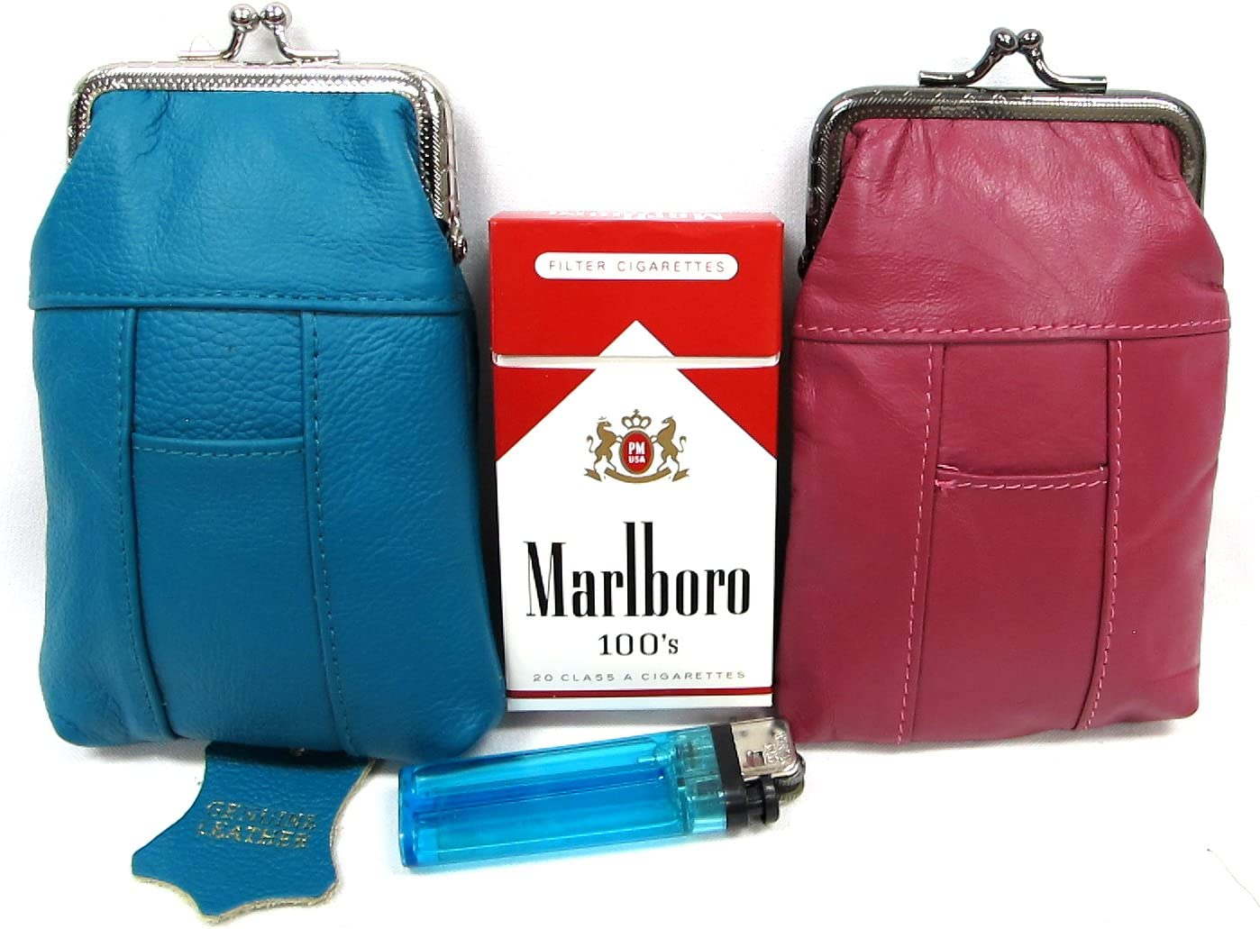 Popular Columbus Mall product Leather Cigarette Case 2pc Lot Genuine + Blue Pouch HO Turquoise