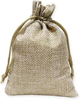 100 Pieces Burlap Bags with Drawstring, 5.4x3.7 inch Burlap Drawstring Gift Bag Jewelry Pouches for Wedding and Party Favors, DIY Craft, Presents, Christmas