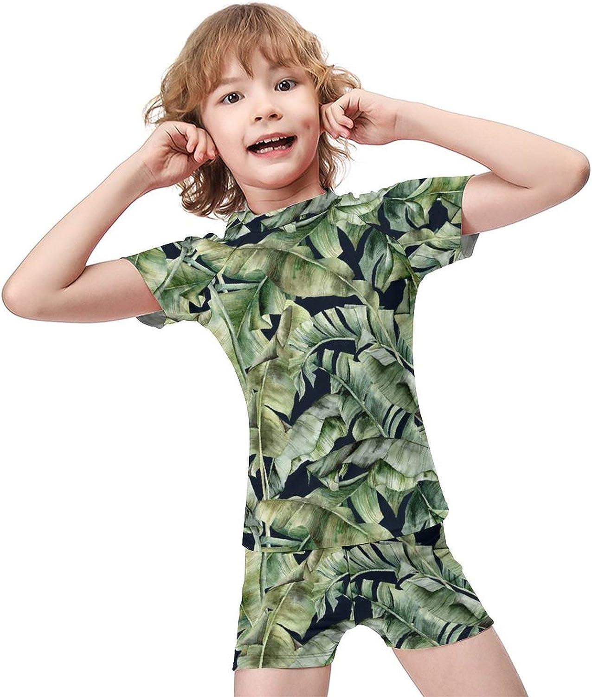 Flowers Boys Two Piece Swimsuits Kids Short Sleeve Sunsuit UPF 50+ Swimwear Sets