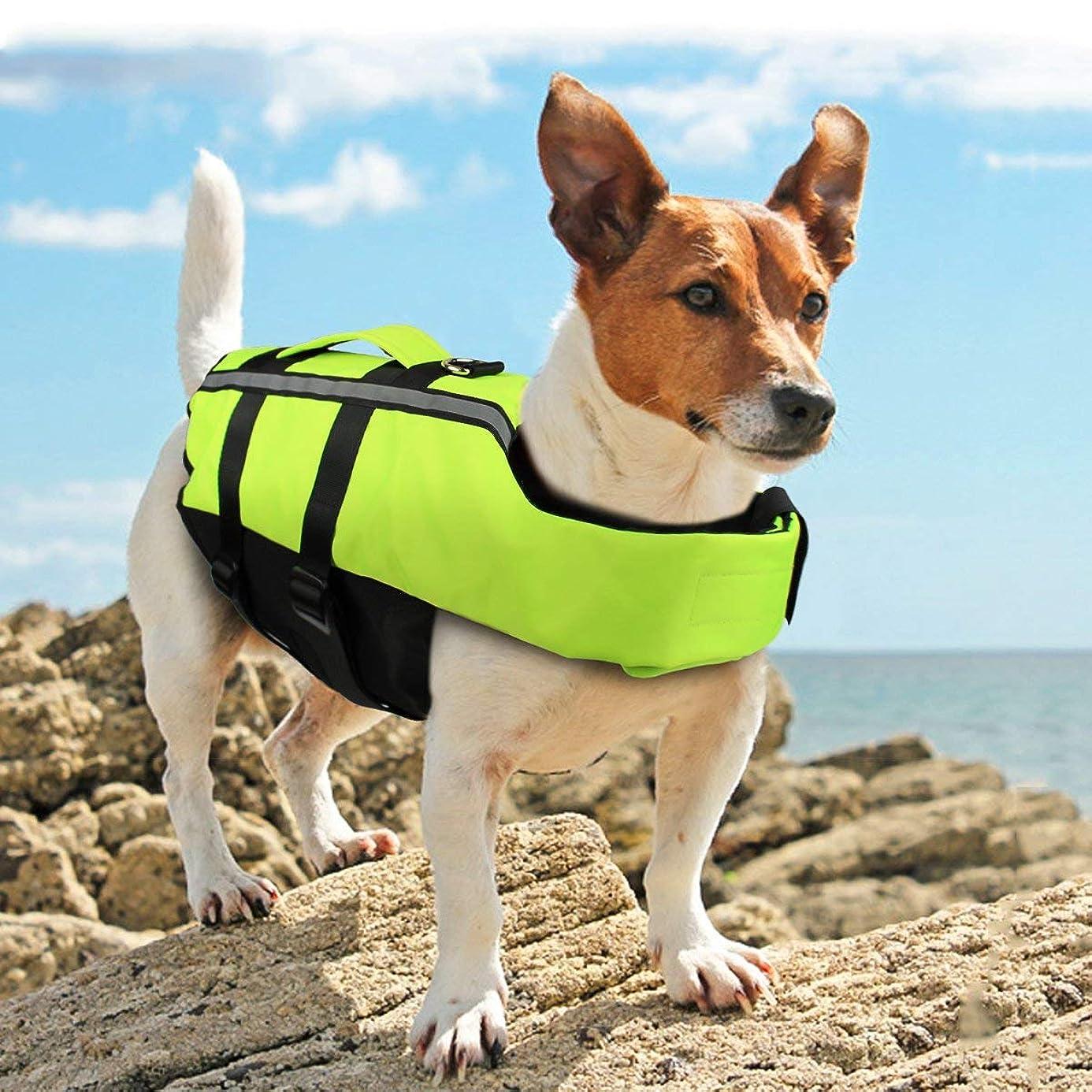 Namsan Dog Life Jacket - Folding Dog Life Vest,Portable Airbag Dog Swimming Jacket Vest,Green azn7244337