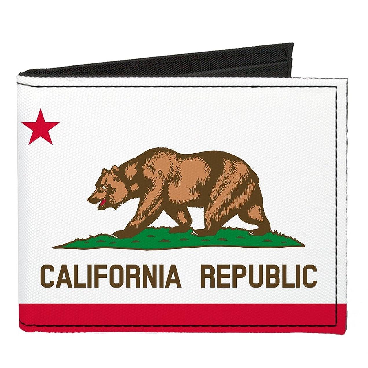マットレス不当虐待バックルダウン キャンバス 2つ折り財布 カリフォルニア州旗