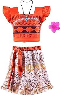 Okidokiyo Little Girls Princess Moan Costume Two-Piece Dress up (4 Years, Orange)