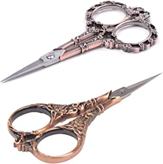 BIHRTC 2 Pairs Sewing Scissors Vintage European Style Flower Pattern Needlework Embroidery Stainless Steel Scissors Tailor Craft Scissors (Copper+Copper)