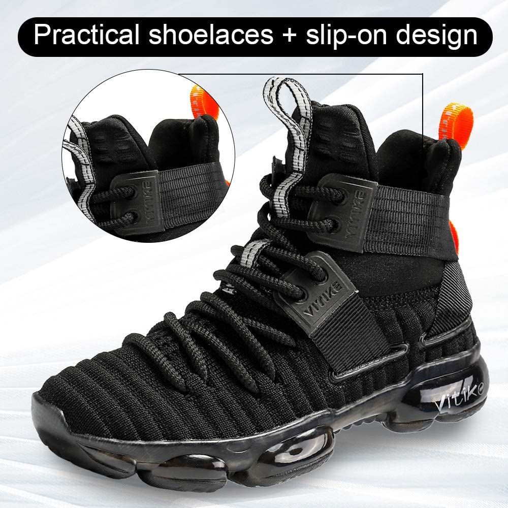 JMFCHI Kid's Basketball Shoes High-top Sports Shoes Sneakers Durable Lace-up Non-Slip Running Shoes Secure for Little Kids Big Kids and Boys Girls