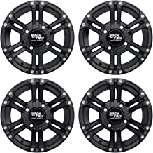 RockTrix RT101 12in ATV Wheels 4x110 Rims | 12x7 | 5+2 F and 2+5 R Offset | Compatible with SRA Honda Foreman 400 450 500, Rancher 350 400 420 Solid Rear Axle - Set of 4