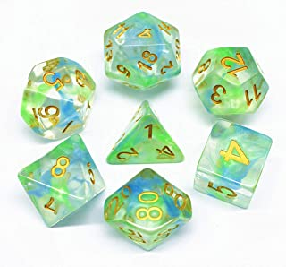 HD Polyhedral Dice DND Game Dice Set for Dungeons and Dragons(D&D) Pathfinder Roleplaying Game RPG MTG Table Game Green & Blue Transparent Dice Set with Dice Pouch.