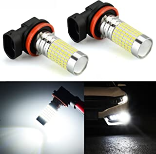 JDM ASTAR 2400 Lumens Extremely Bright 144-EX Chipsets H11 LED Fog Light Bulbs with Projector for DRL or Fog Lights, Xenon White