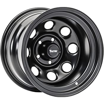 TACTIK Circle 8 Classic 15 Inch Wheel for Jeep Wrangler 1987-2006, 5x4.5 Bolt Pattern, 15x10 (-38.1mm Offset), 4 Inch Backspace, Satin Black