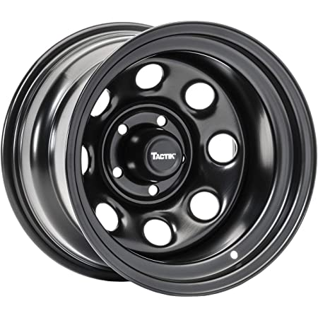 TACTIK Circle 8 Classic 15 Inch Wheel for Jeep Wrangler 1987-2006, 5x4.5 Bolt Pattern, 15x8 (-12.7mm Offset), 4 Inch Backspace, Satin Black