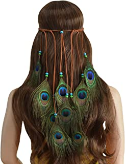 Adjustable Peacock Feather Headband Weave Bohemian Headdress Headpieces Tassel Beads Hairband for Women Girls