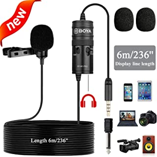New Monitor Lavalier Microphone for Canon iPhone Podcast, 19 Feet BOYA Omnidirectional Condenser Mic for Nikon Sony iPhone 10 8 8 Plus 7 6 DSLR Camcorder Audio Recorder YouTube Interview Video