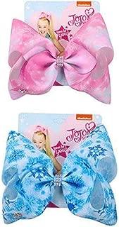 JoJo Siwa 2 Pack Ribbon Hair Bows Christmas Snow Flake Design