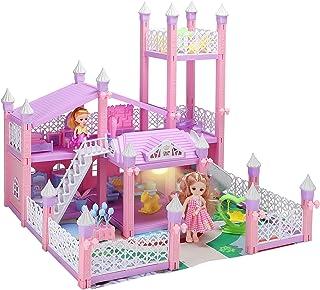 KAINSY Domek dla lalek, duży trzyczęściowy zamek księżniczki zestaw do zabawy duży domek dla lalek dla dziewcząt meble i a...