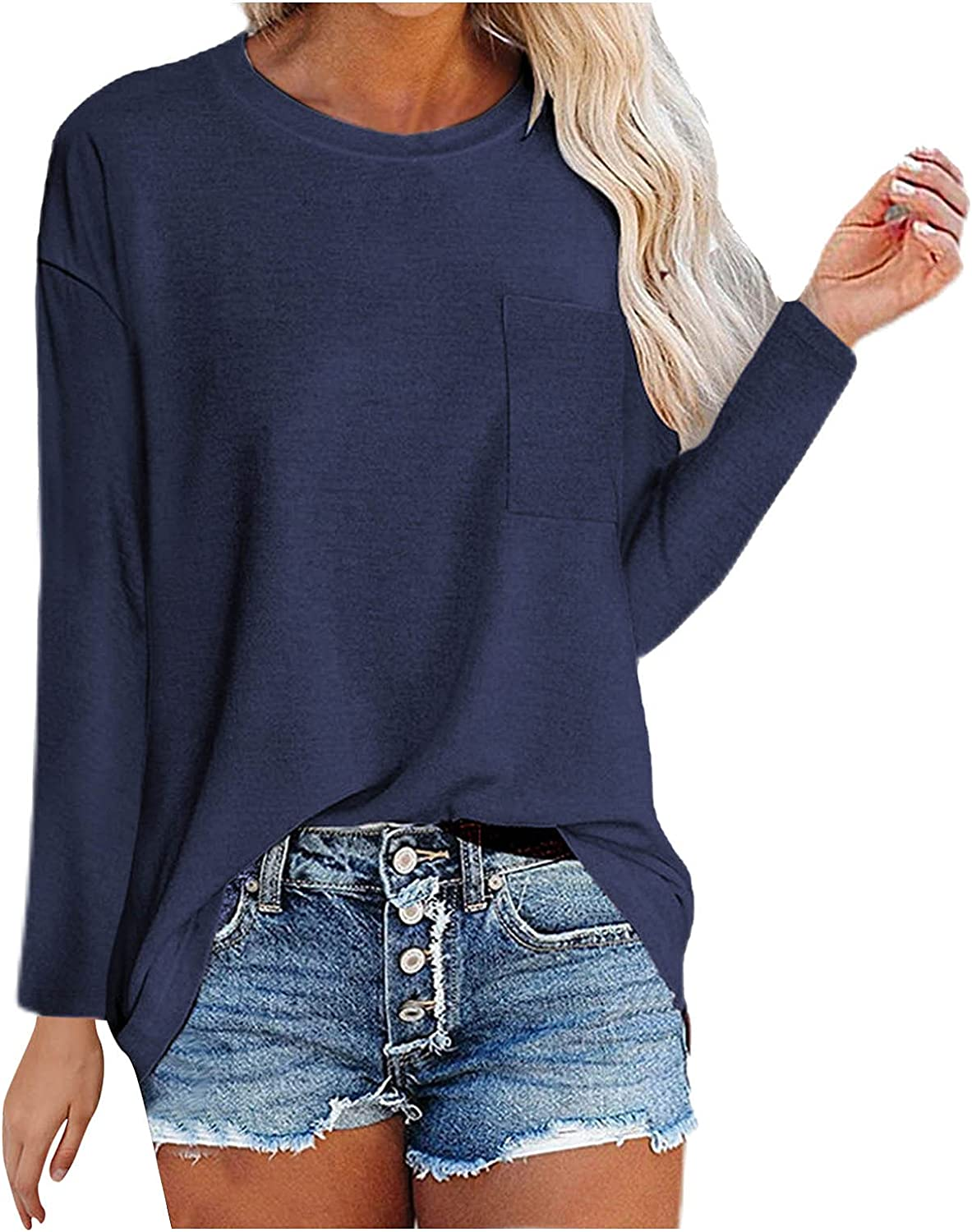 WYBAXZ Loose Casual Crew Neck Tops for Women, Long Sleeve Pullover Loose Fit Tunic Baggy Comfy Blouse Sweatshirt Tops