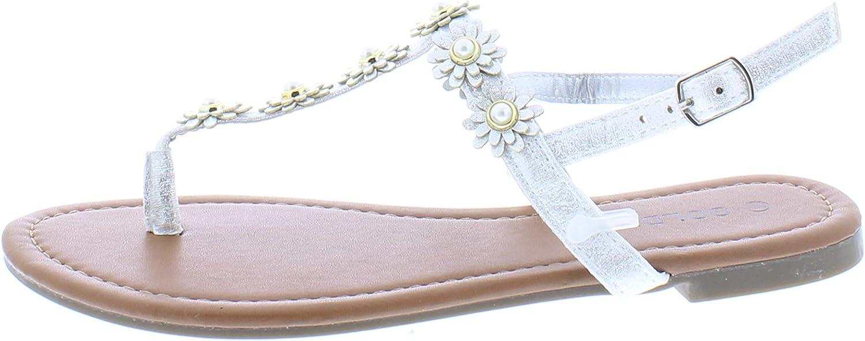gold Toe Women's Malia Glitter Sparkly Flower Pearl Stud Embellished T-Strap Flat Thong Flip Flop Sandal
