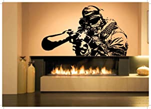 Wall Room Decor Art Vinyl Sticker Mural Decal OPS Soldier Shooter Sniper Big Large AS790