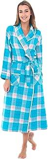Womens Flannel Robe, Lightweight Cotton Bathrobe