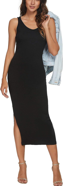 CMZ2005 Women Scoop Neck Sleeveless Dresses Causal Bodycon Tank Dress 71819