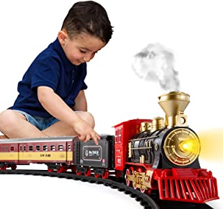 Temi Train Sets w/ Steam Locomotive Engine, Cargo Car and Tracks, Battery Operated Play Set Toy w/ Smoke, Light & Sounds, ...