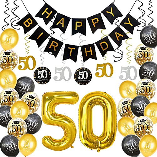 HankRobot 50th Birthday Decorations Party Supplies(40pack) Gold Number Balloon 50 Happy Birthday Banner Latex Balloon...