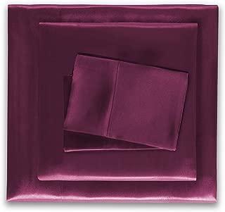 HONEYMOON HOME FASHIONS Satin Sheets Queen 4 Pieces Purple