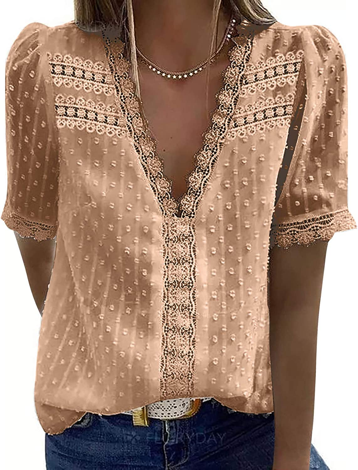 siilsaa Summer Tops for Women Women's Ultra-Cheap Deals T Safety and trust Neck Color V Lace Solid