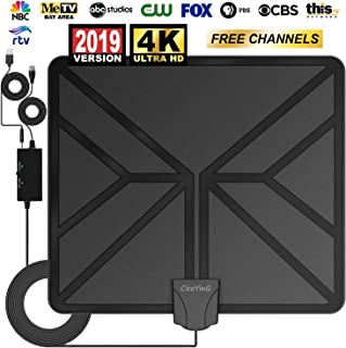 [2019 Upgraded] Amplified HD Digital TV Antenna - Freeview HDTV Antenna Indoor Amplifier Signal Booster, Support 4K 1080P VHF UHF for All Older TV's Local Free Channels - 16.5ft Coax Cable